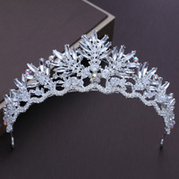 Fashion Marquise Crystal Tiara Crown Pageant Prom Korean Headband Hair Accessories for Wedding Bridal Headpiece Jewelry Hairband