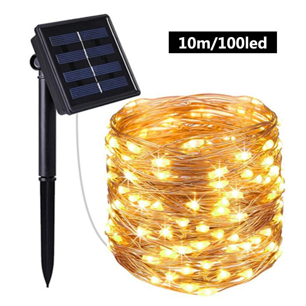 100 Brillia LED Outdoor Solar Lamp String Lights 60/100 LEDs Fairy Holiday Christmas Party Garland Solar Garden Waterproof 6/10m