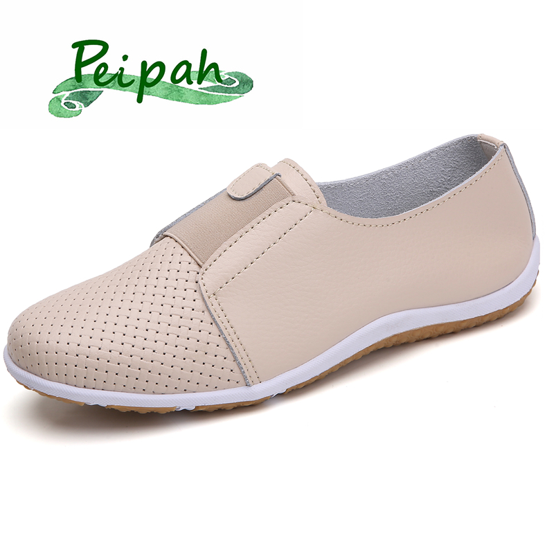 PEIPAH Genuine Leather Women's Slip-on Flat Shoes For Women Moccasins Ladies Ballet Flats Woman Driving Loafers Female Sneakers
