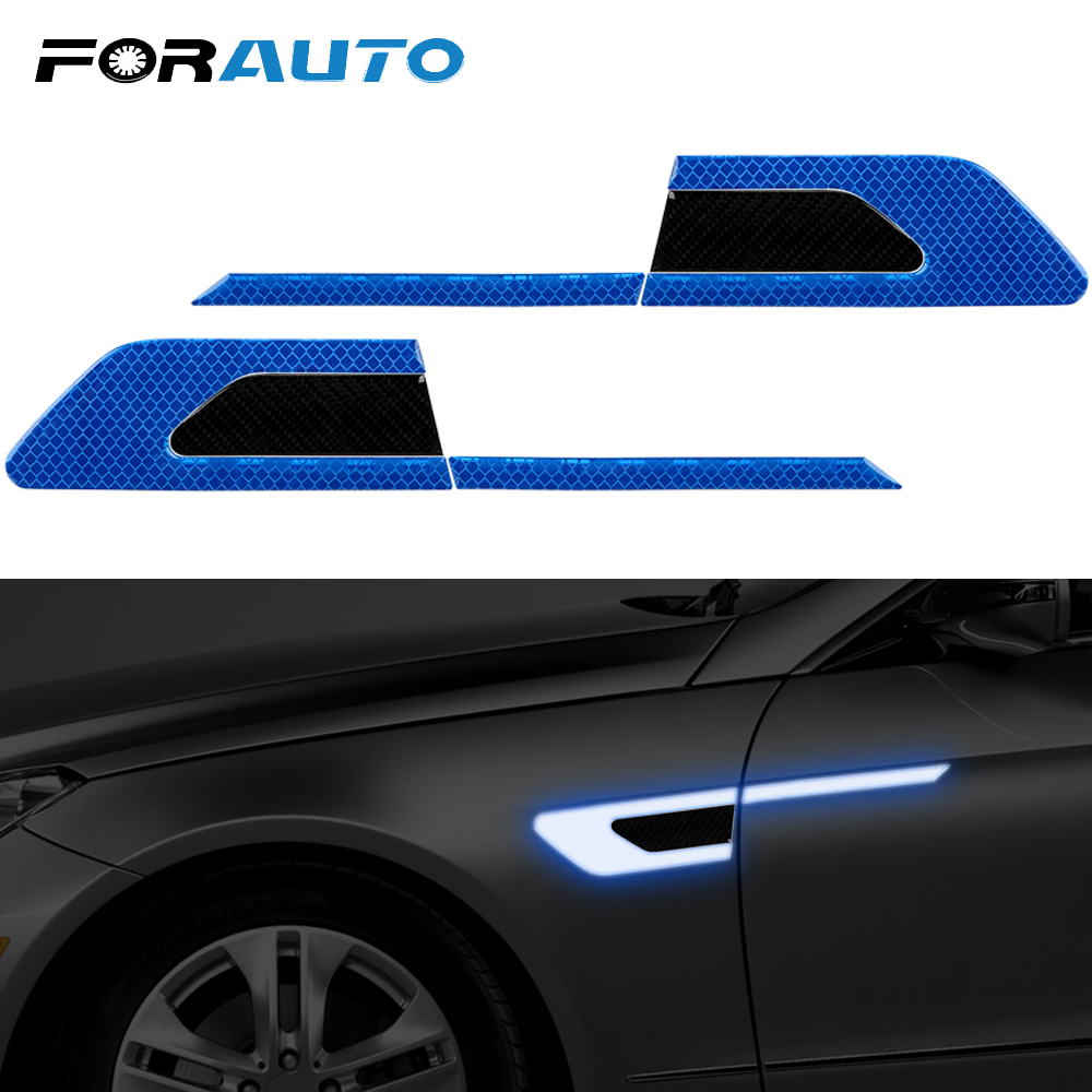 FORAUTO 2 Pcs/set Car Reflective Stickers Safety Warning Strip Tape Car Bumper Decoration Auto Door Sticker Decal Car-styling