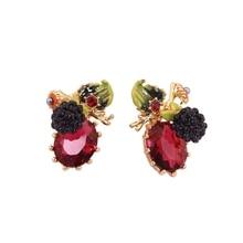 European Crystal Raspberry Stud Earrings Fashion Jewelry Hand Painted Enamel Plant Cute Small Earrings Women Accessories EH008