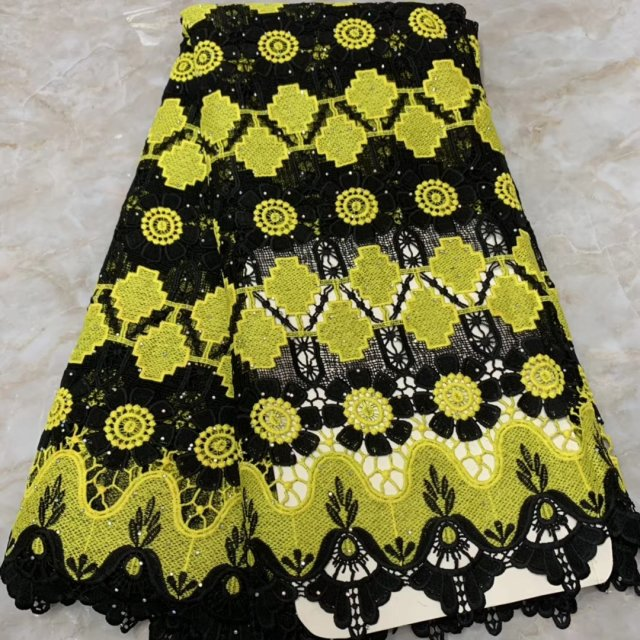 Yellow Black Tulle Nigerian Lace Fabric 2019 High Quality Lace French Swiss Voile Lace For African Women Sewing Dress 5 Yards