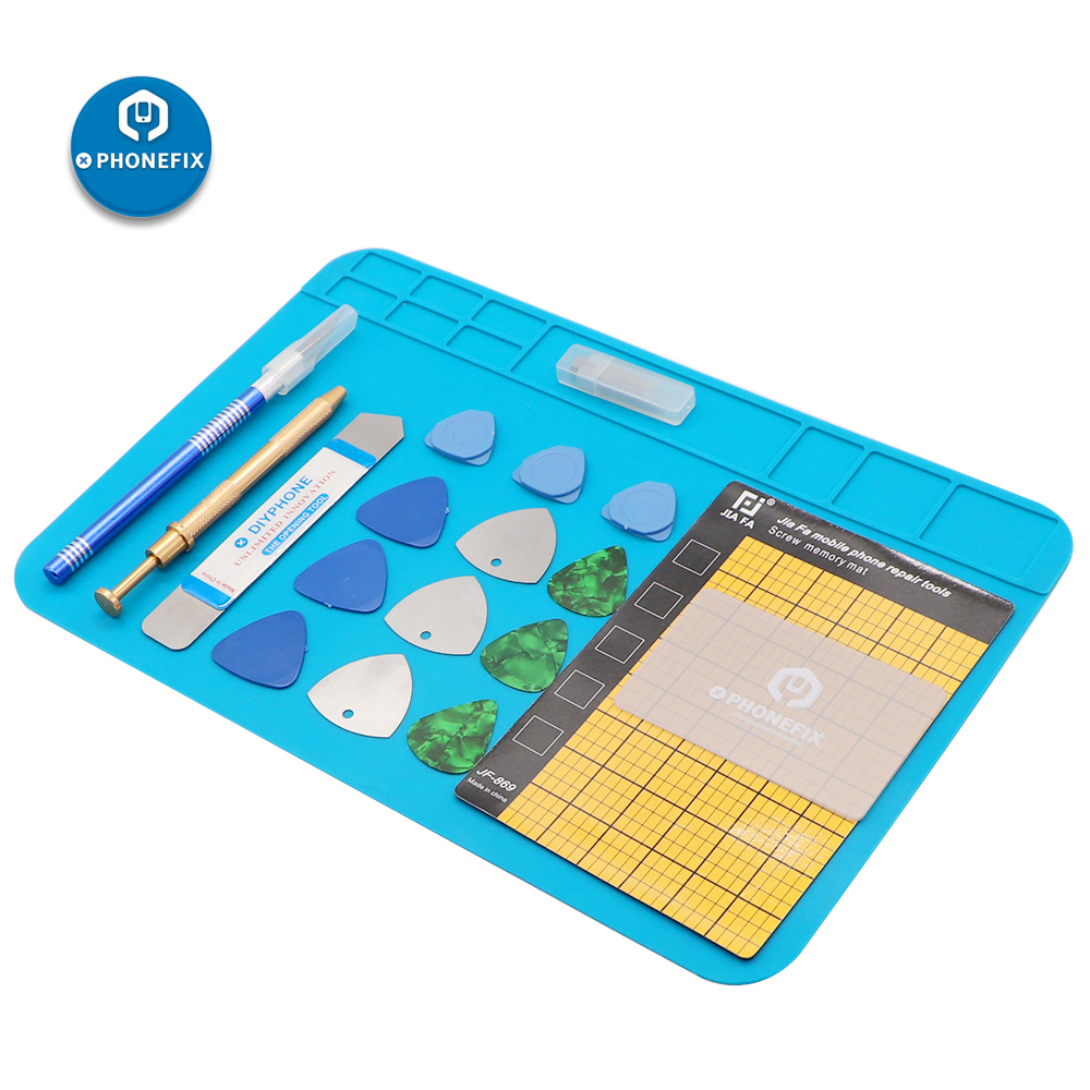 PHONEFIX 20 In 1 Opening Pry Tool Kits DIY Hand Tool Pry Bar Phone Screen Disassemble Tools With Soldering Mat For IPhone Repair