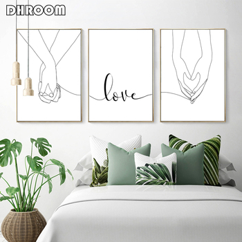 Love Canvas Print Painting Holding Hands Poster Minimalist Line Drawings Wall Art Nordic Sweet Pictures Bedroom Decor