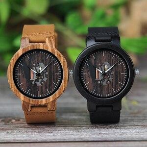 Image 2 - Bobo Vogel Houten Horloges Voor Mannen Casual Quartz Mannelijke Horloge Часы Мужские Zwarte Koeienhuid Lederen Band Met Houten Doos Dropship