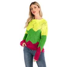 2020 осень зима контраст Цвет Женский Повседневный свитер с