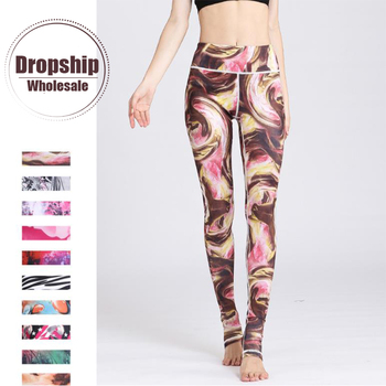High Waist Women Yoga Pants Fitness Seamless Sports Leggings Gym Athletic Prints Long Tights Girls Gym Running Workout Trousers