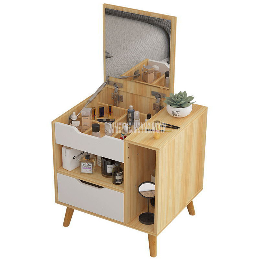 Nordic Modern Dressing Table With Mirror Drawer Wood Dresser Nightstand Bedroom Furniture Mini Bedside Table Wedding Furniture