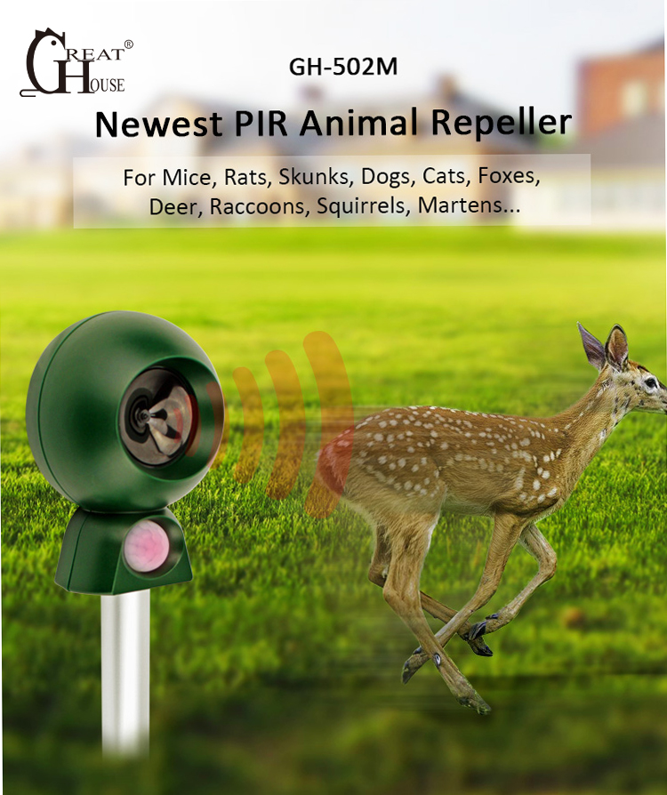 GREATHOUSE Outdoor Ultrasonic Pest Dog Cat Bird Rat Rodent Animal Repeller Electronic Motion Sensor Scarer Repellent