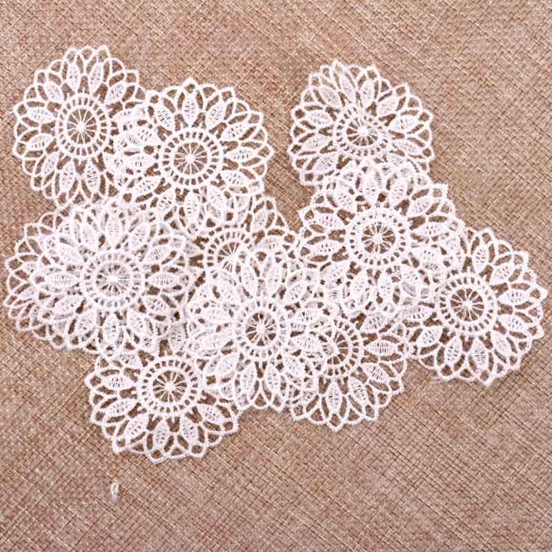 30 pçs cor branca bonita laço net guarnição bordado laço fita para costura decoração do casamento diy 45mm|Ves rend|   -