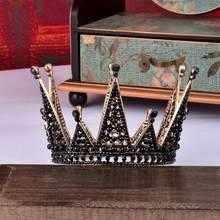 KMVEXO-tiara nupcial redondo con perlas de cristal negro barroco para niños, corona para fiesta de cumpleaños, diadema, 2020