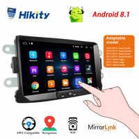 Hikity Android coche Radio Autoradio 8''2 Din coche Multimedia MP5 reproductor GPS Buletooth coche estéreo espejo enlace para Renault Sander