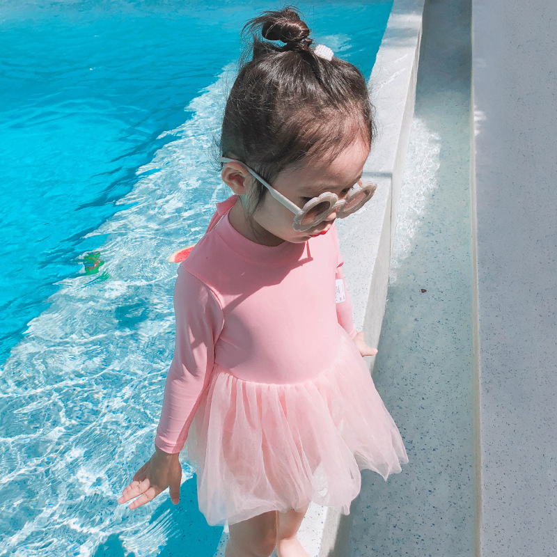 KID'S Swimwear Women's Girls Long Sleeve Sun-resistant One-piece Baby BABY'S Bathing Suit Cute Small CHILDREN'S Skirt Princess S
