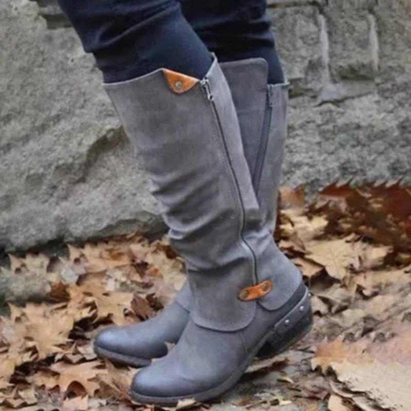 Dropshipping kış PU deri diz yüksek çizmeler kadın kar botları yüksek topuklu yan fermuar kadın ayakkabısı katı büyük boy bayan botları