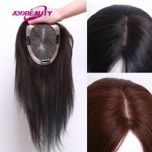Mono Base de Pu tupé de mujer, peluca de cabello humano liso Remy con Clips, calidad Natural, negro, granate, nudos dobles