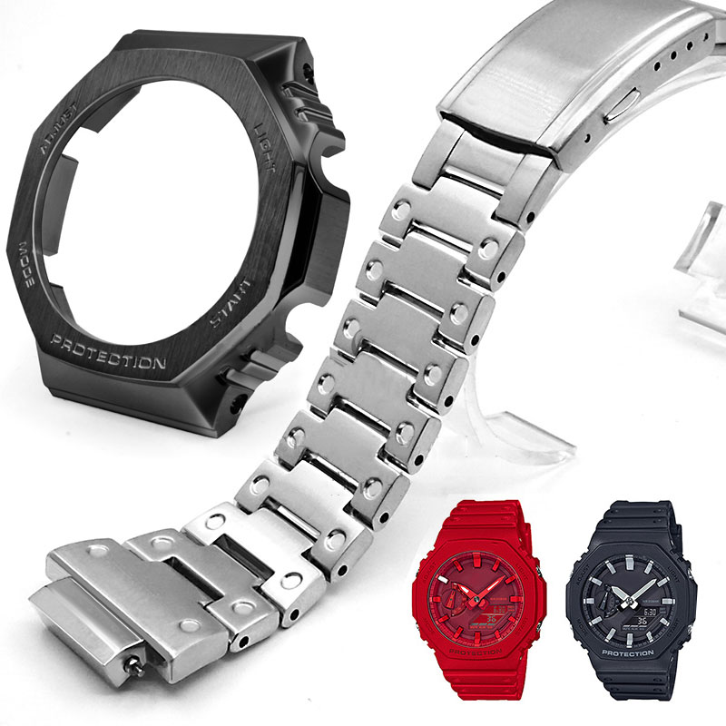 GA2100 Silver Black Set Watch Modification Watchband Bezel 100% Metal 316L Stainless Steel Watch Band Strap Case Watch Bracelet