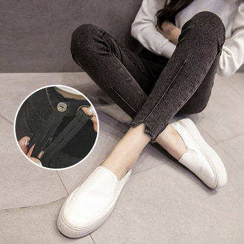 Obcisłe dżinsy rurki dla kobiet w ciąży ubrania spodnie ciążowe ciążowe legginsy spodnie ciążowe Stretch jeansy w ciąży Gravidas spodnie tanie i dobre opinie Poliester spandex Denim WOMEN Natural color light Macierzyństwo skinny Elastyczny pas