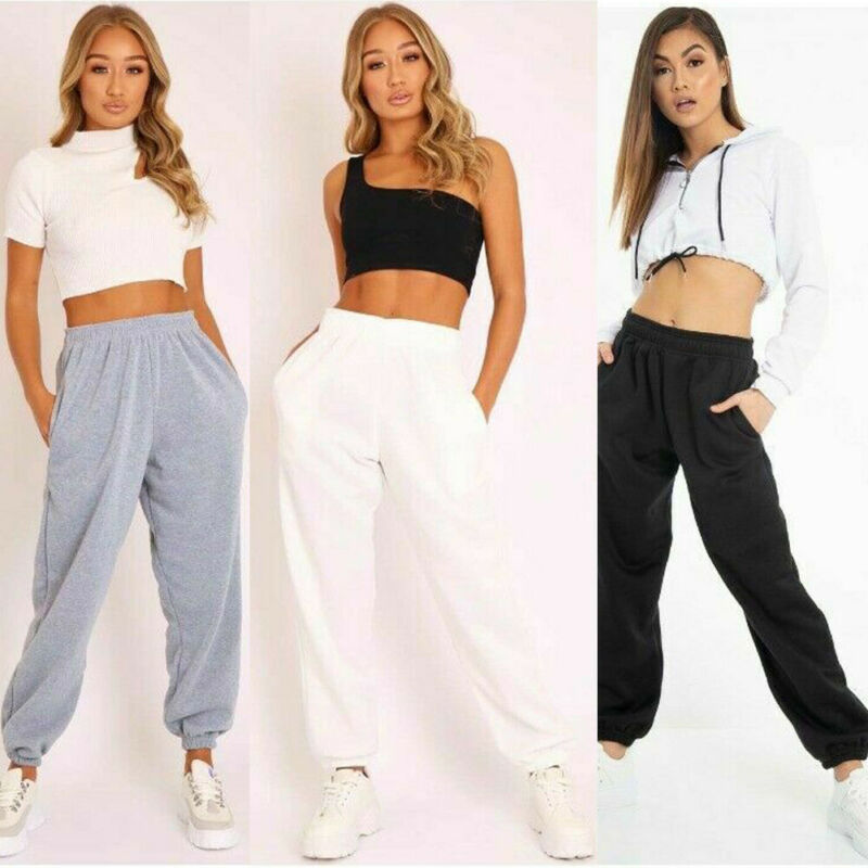 2019 Autumn Winter New Women Plain Fleece Jogger Drawstring Two Pocket Sweat Pants Solid Color Sports Pants