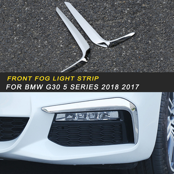 Auto Car Styling Front Fog Light Strip Cover Trim Frame Sticker Exterior Accessories for BMW G30 5 Series 2018 2017