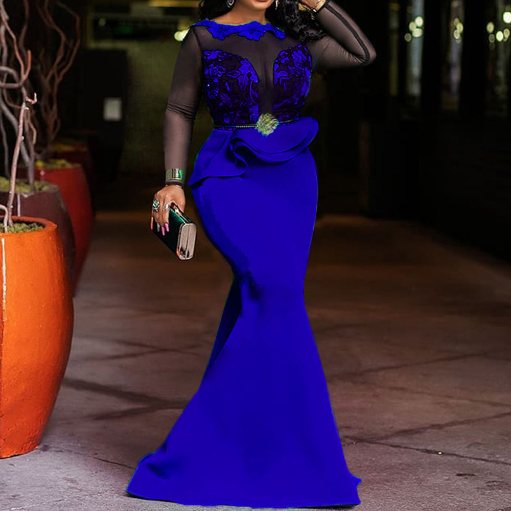 Royal Blue Women Long Maxi Dresses Elegant Lace Party Dinner Mermaid Trumpet African Ruffles Falbala Femme Vestiods Robe Dress