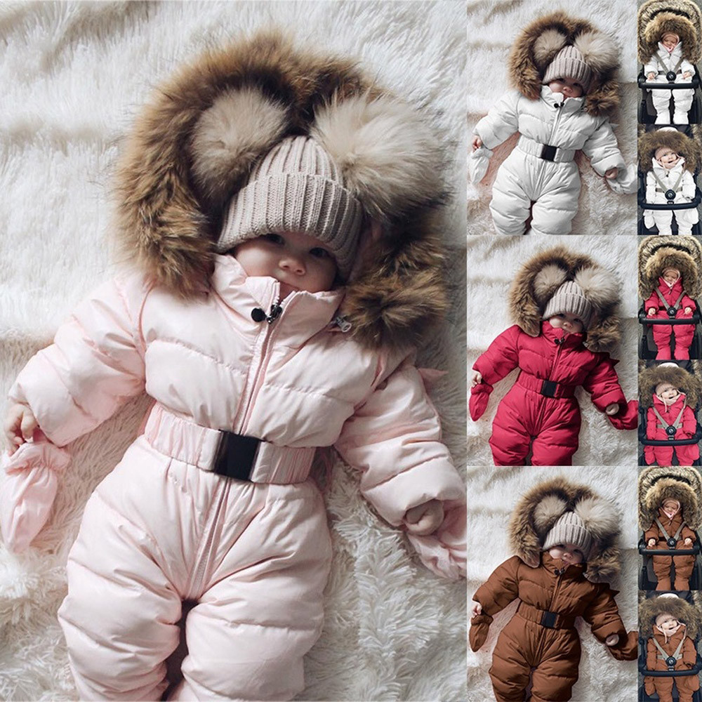Cute Children's Winter Jumpsuit Winter Infant Baby Boy Girl Romper Jacket Hooded Jumpsuit Warm Thick Coat Outfit