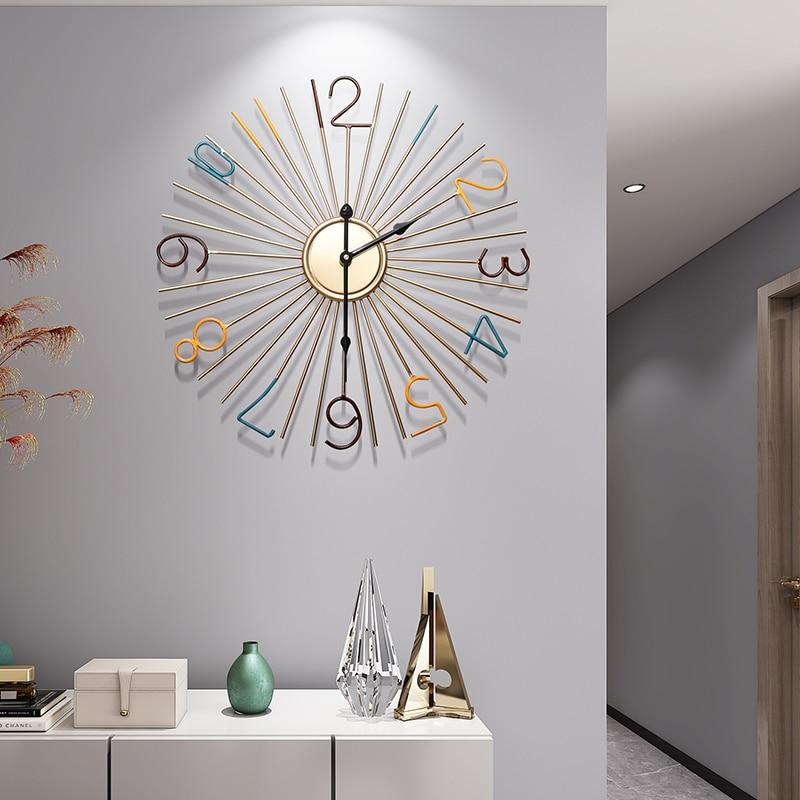 Large Art Wall Clock Modern Design Kitchen Metal Large Round Silent Wall Clock For Kids Reloj De Pared Home Decoration JJ60WC