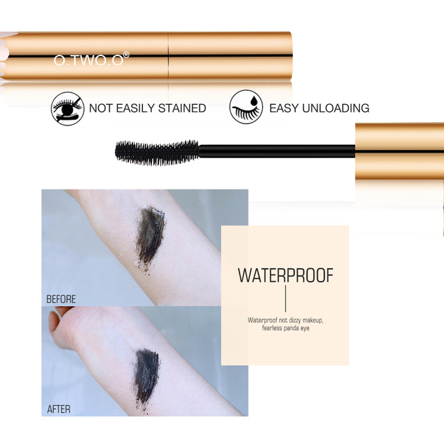 O.TWO.O 3D Mascara Lengthening Black Lash Eyelash Extension Eye Lashes Brush Beauty Makeup Long-wearing Gold Color Mascara 1