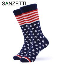 SANZETTI 1 Pair Happy Men's Socks USA Flag Colorful Comfortable Combed Cotton An