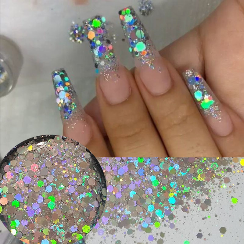 Holographic Glitter Laser Sequins  Flakes Nail Dust Powder Glitters For Nail Art Design Decorations