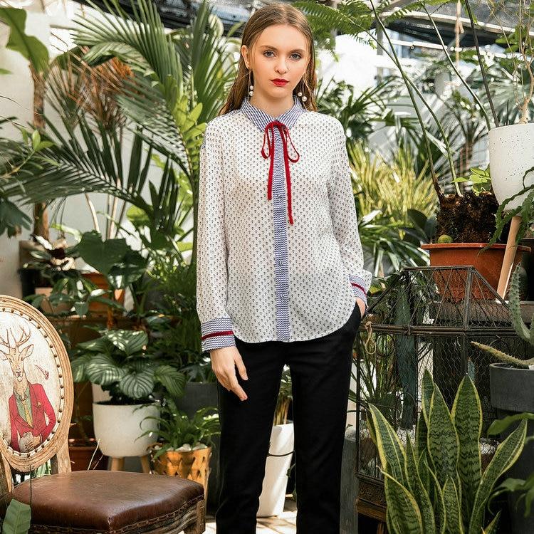 2019 printemps automne femme blouse chemise revers 100% soie à manches longues origine arc décontracté confortable doux haut pour fille n55