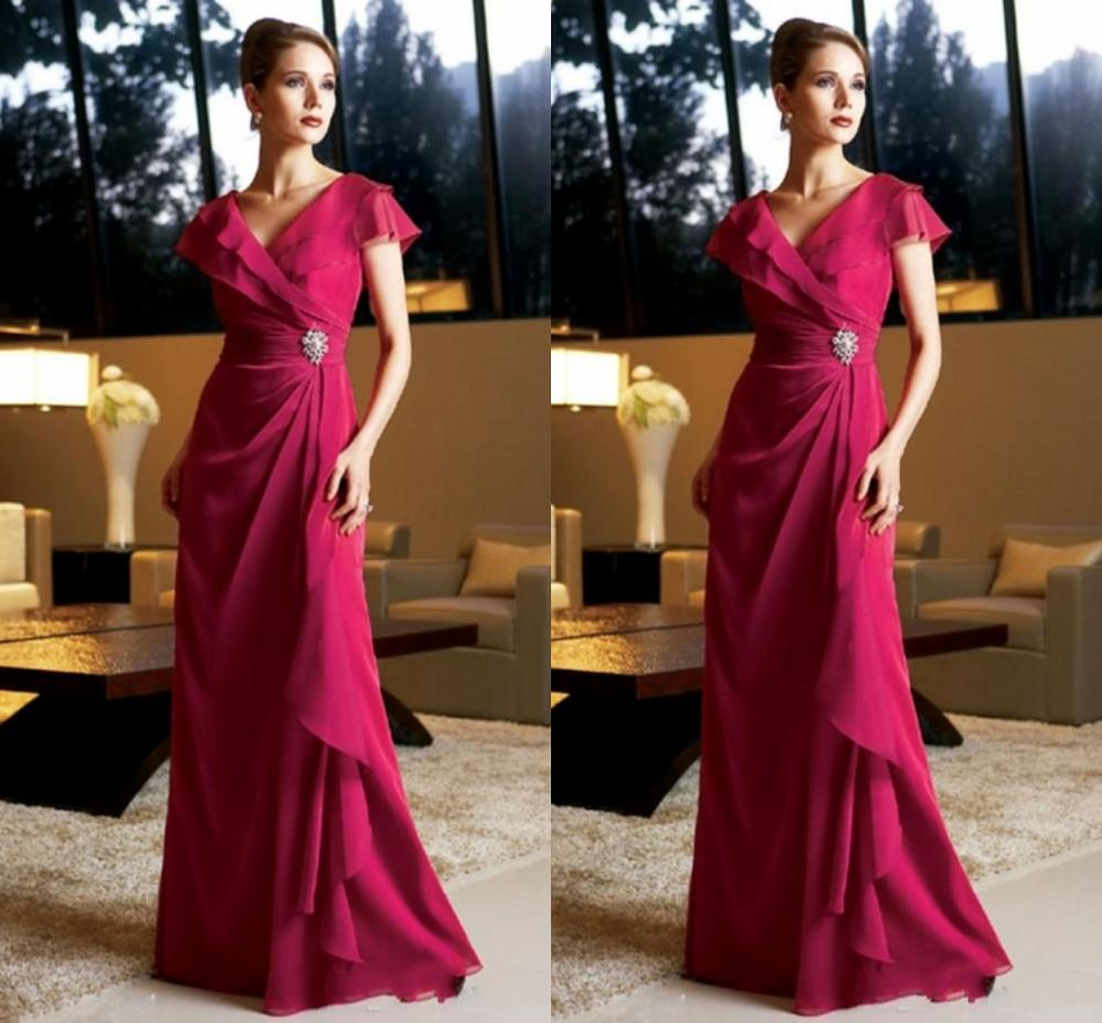 New Chiffon Mother Of The Bride Gowns 2020 V Neck Cap Sleeves Crystals Wedding Guests Dress Plus Size