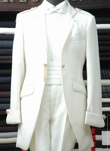New Arrival Customized Men's High-end Business Dress White Palace Party Dance Men's Slim Suit (Jacket + Trousers) 381