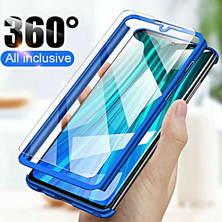 360 PC Front + Back With Tempered GlassFull Hard Case For XiaoMi RedMi Note 8 Pro 7 6 5 Plus 4 7A 6A 5A 4A 4X Cover  Phone Cases