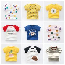 Tops Tshirts Toodler Baby Short-Sleeved Summer Pure-Cotton Casual Boy O-Neck 6M-24M Girl