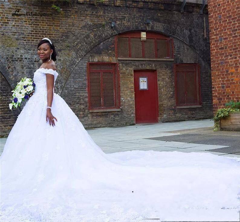 Lakshmigown Elegant South African Bridal Dress Luxury Wedding Gowns Lace Appliques Beaded Wedding Dress Long Train Vestidos 2020