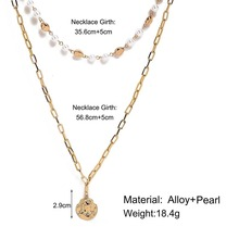 HIYONG European and American New Creative Retro Simple Irregular Head Seal Artificial Pearl Double Necklace In Autumn 2019