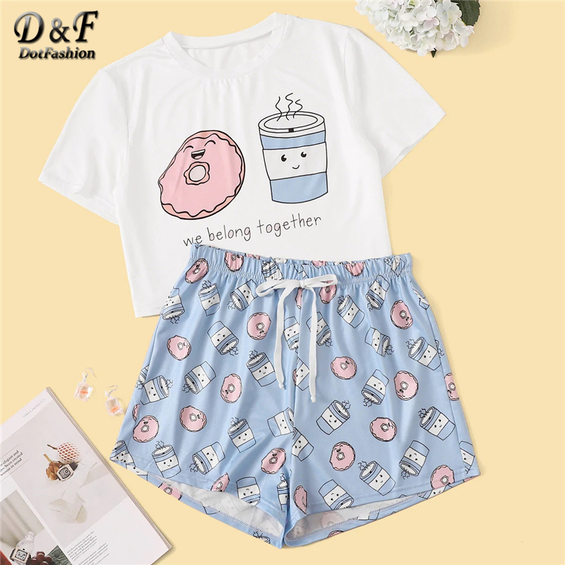 Dotfashion Cartoon And Letter Print   Pajama     Set   Women 2019 Summer Short Sleeve Top and Drawstring Waist Shorts Sleepwear   Set