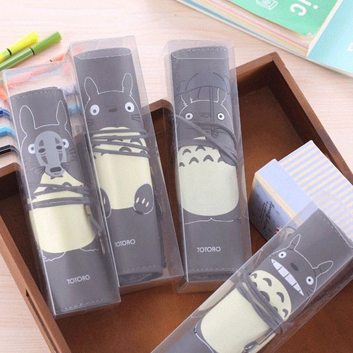1 Pcs Korean Creative Totoro Pencil Case Pencil Box Pencil Bag Leather Kawaii Stationery Pouch Office School Supplies