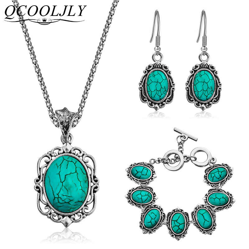 New Oval Blue Stone Jewelry Set Pendant Earrings Retro Antique Necklace Set Ladies Jewelry Gifts for Women Wedding Party jexxi
