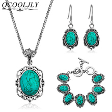 New Oval Blue Stone Jewelry Set Pendant Earrings Retro Antique Necklace Set Ladies Jewelry Gifts for Women Wedding Party jexxi недорого