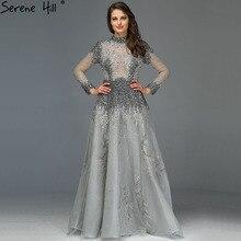 Müslüman gri lüks uzun kollu abiye 2020 son tasarım kristal yüksek boyun resmi elbise Serene tepe LA60975
