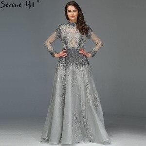 Image 1 - Müslüman gri lüks uzun kollu abiye 2020 son tasarım kristal yüksek boyun resmi elbise Serene tepe LA60975