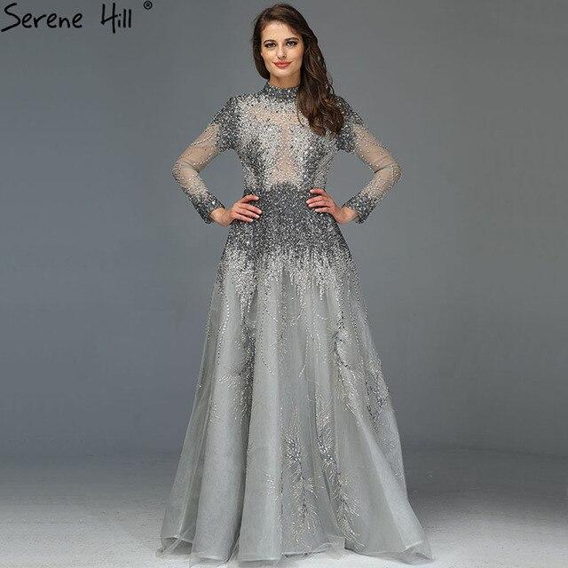 Muslimischen Grau Luxus Langen Ärmeln Abendkleider 2020 Neueste Design Kristall High Neck Formale Kleid Ruhigen Hill LA60975