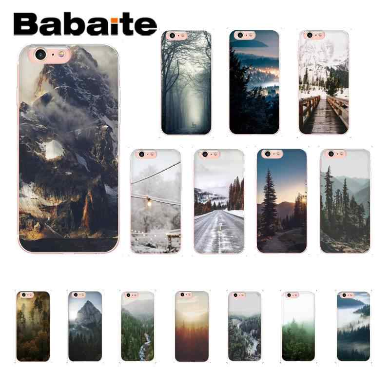 Babaite Mountain Peak Forest Novelty Fundas โทรศัพท์สำหรับ iPhone 8 7 6 6S Plus X XS MAX 5 5S SE XR 11 11pro 11promax