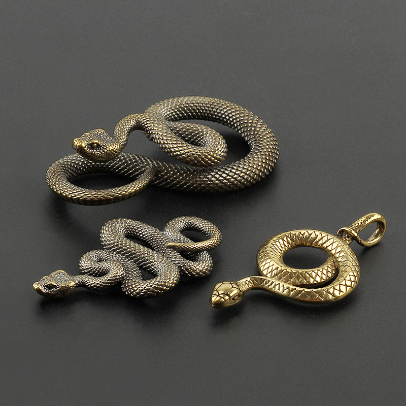 Various Styles Brass Snake Key Ring Outdoor Copper Snake Car Hanging UKHC