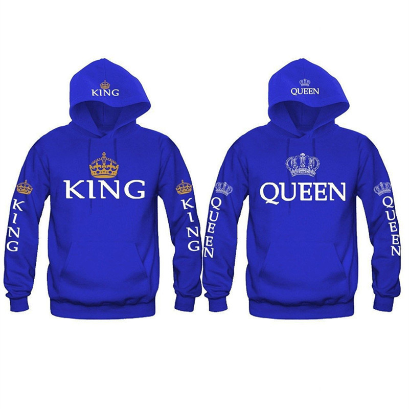 New Fashion King Queen Printed Sweatshirt Lovers Couples Hoodies Hooded Sweatshirt Casual Pullovers Tracksuits