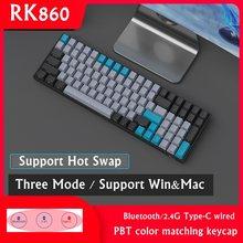 Nova troca quente rk860 bluetooth sem fio/2.4g sem fio/tipo-c com fio 3-mode backlit 100 teclado mecânico chave para mac e windows