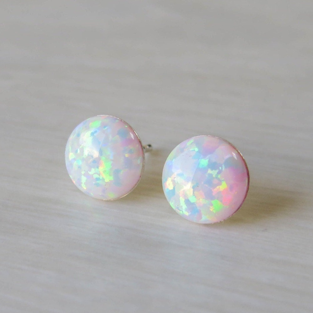 12mm Simple Chic Round White Opal Earrings Minimalist Dainty Silver Color Opals Stud Earrings For Women Gift Jewelry