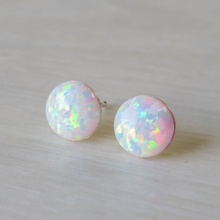 12mm Simple Chic Round White Opal Earrings Minimalist Dainty Silver Color Opals Stud for Women Gift Jewelry