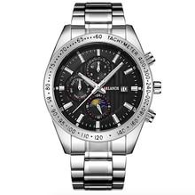 Les hommes daffaires créatifs regardent la marque de luxe en acier inoxydable montre bracelet chronographe armée montres à Quartz militaires Relogio Masculino